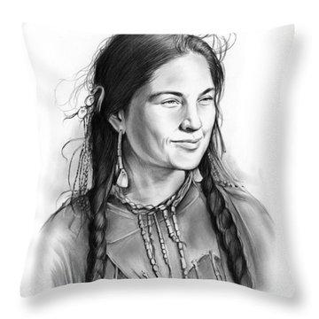 Sacagawea Throw Pillow by Greg Joens