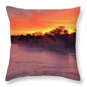 Sacramento River Sunrise Throw Pillow