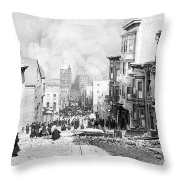 Sacramento Street Burning - San Francisco Earthquake - 1906 Throw Pillow