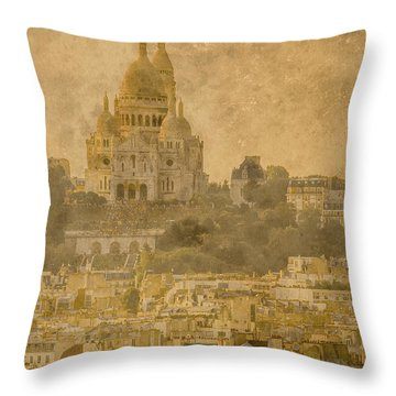 Paris, France - Sacre-coeur Oldplate Throw Pillow
