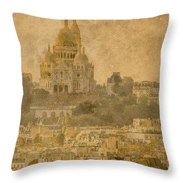 Paris, France - Sacre-coeur Oldplate Throw Pillow
