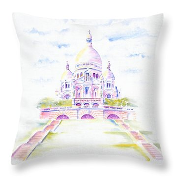 Throw Pillow featuring the painting Sacre Coeur  by Elizabeth Lock