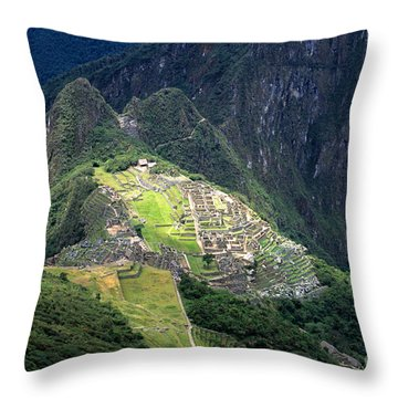 Sacred City Of Machu Picchu Throw Pillow by James Brunker