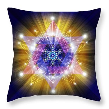 Sacred Geometry 23 First Version Throw Pillow by Endre Balogh