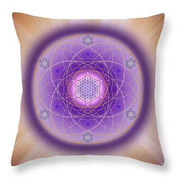 Throw Pillow featuring the digital art Sacred Geometry 704 by Endre Balogh