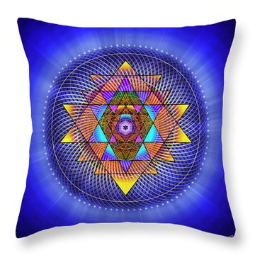 Throw Pillow featuring the digital art Sacred Geometry 705 by Endre Balogh