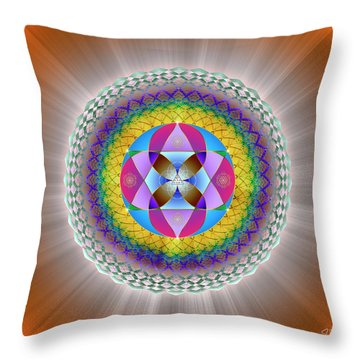 Throw Pillow featuring the digital art Sacred Geometry 706 by Endre Balogh