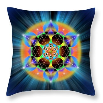 Throw Pillow featuring the digital art Sacred Geometry 709 by Endre Balogh