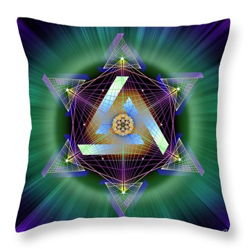 Throw Pillow featuring the digital art Sacred Geometry 713 by Endre Balogh