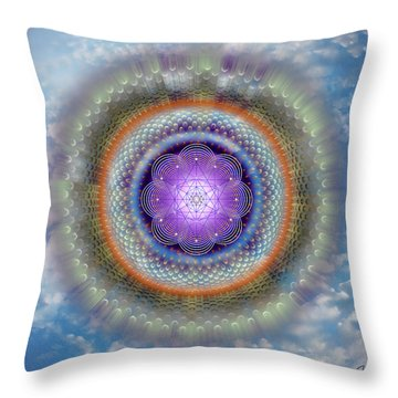 Throw Pillow featuring the digital art Sacred Geometry 716 by Endre Balogh