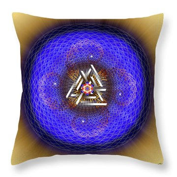 Throw Pillow featuring the digital art Sacred Geometry 719 by Endre Balogh