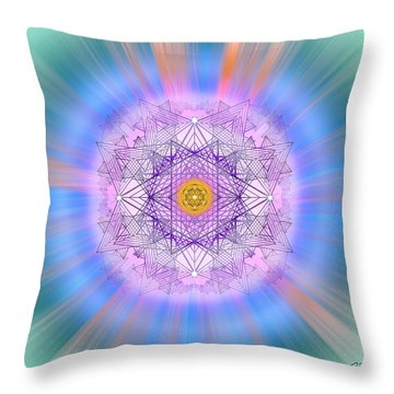 Throw Pillow featuring the digital art Sacred Geometry 720 by Endre Balogh