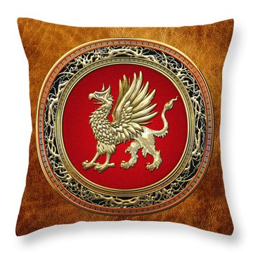 Sacred Golden Griffin On Brown Leather Throw Pillow