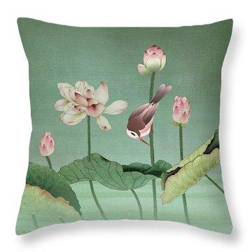 Sacred Lotus Flower Throw Pillow