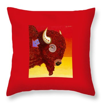 Throw Pillow featuring the painting Sacred Monarch by Bob Coonts