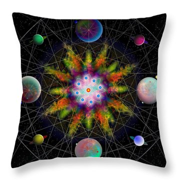 Throw Pillow featuring the digital art Sacred Planetary Geometry - Dark Red Atom by Iowan Stone-Flowers