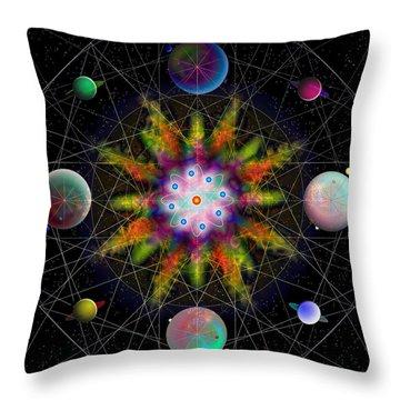 Sacred Planetary Geometry - Dark Red Atom Throw Pillow