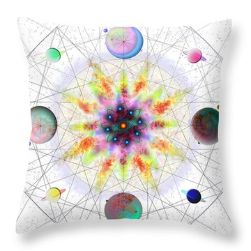Throw Pillow featuring the digital art Sacred Planetary Geometry - Red Atom Light by Iowan Stone-Flowers