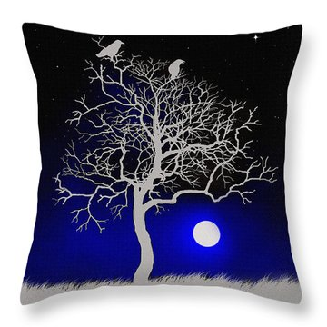 Sacred Raven Tree Throw Pillow