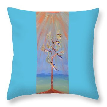 Sacred Sun Dance Tree Throw Pillow
