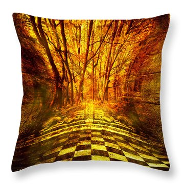 Sacred Temple Of The Trees Throw Pillow by Jenny Rainbow