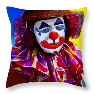 Sad Clown Throw Pillow by Methune Hively