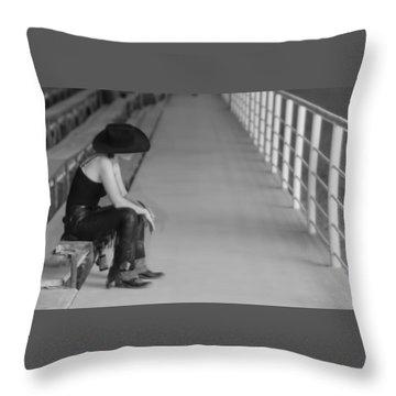 Sad Cowgirl Throw Pillow