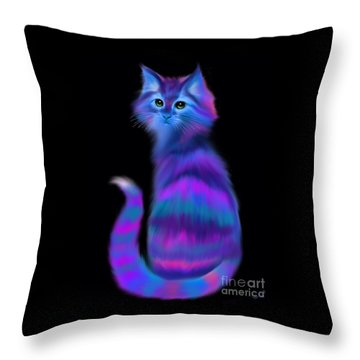 Throw Pillow featuring the painting Sad Eyed Colorful Cat by Nick Gustafson