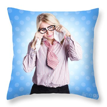 Sad Worker In Business Trouble Throw Pillow