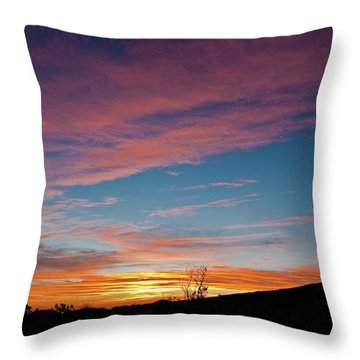 Saddle Road Sunset Throw Pillow