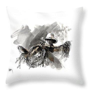 Saddling Cowhorse Throw Pillow