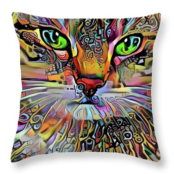 Sadie The Colorful Abstract Cat Throw Pillow