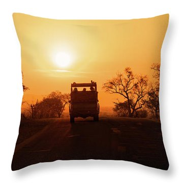 Safari Vehicle At Sunset Throw Pillow