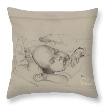 Throw Pillow featuring the drawing Safe by Annemeet Hasidi- van der Leij
