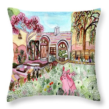 Throw Pillow featuring the painting Safe In Bunny Home by Connie Valasco