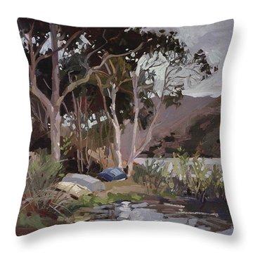 Safe Shelter  - Plein Air - Catalina Island Throw Pillow