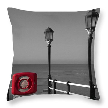 Safety First Throw Pillow by Hazy Apple