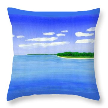 Throw Pillow featuring the painting Sag Harbor, Long Island by Dick Sauer