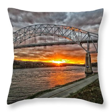 Sagamore Bridge Sunset Throw Pillow by Constantine Gregory