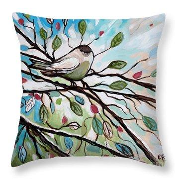 Sage Glimmering Songbird  Throw Pillow by Elizabeth Robinette Tyndall