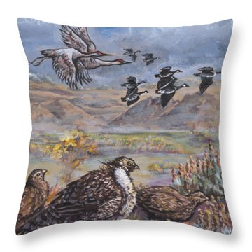 Sage Grouse Watch The Migration Throw Pillow