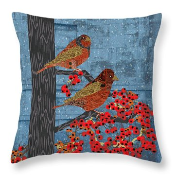 Throw Pillow featuring the digital art Sagebrush Sparrow Long by Kim Prowse