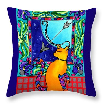 Sagittarius Cat Zodiac Throw Pillow