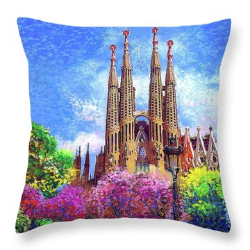 Sagrada Familia And Park,barcelona Throw Pillow by Jane Small