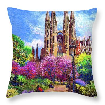 Sagrada Familia And Park,barcelona Throw Pillow