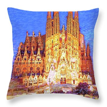 Sagrada Familia At Night Throw Pillow by Jane Small