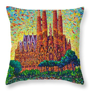 Sagrada Familia Barcelona Modern Impressionist Palette Knife Oil Painting By Ana Maria Edulescu Throw Pillow