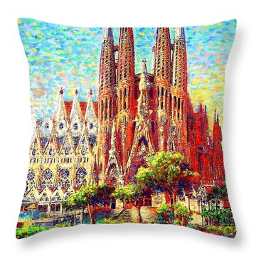 Sagrada Familia Throw Pillow by Jane Small