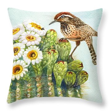 Throw Pillow featuring the painting Saguaro And Cactus Wren by Marilyn Smith