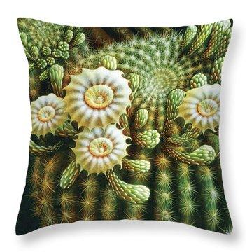 Saguaro Cactus Blossoms Throw Pillow